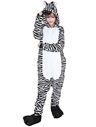 cheap -Kigurumi Pajamas Zebra Onesie Pajamas Costume Flannel Fabric Black/White Cosplay For Adults' Animal Sleepwear Cartoon Halloween Festival