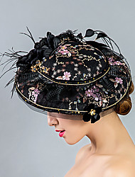 cheap -Tulle Lace Feather Fabric Silk Net Fascinators Hats Headpiece
