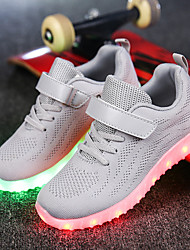 cheap -Boys' Sneakers Light Up Shoes Summer Fall Knit Casual Outdoor Party & Evening LED Hook & Loop Flat Heel Blushing Pink Blue Gray Black Flat