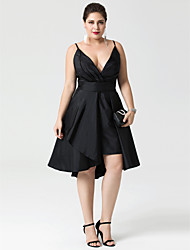 cheap -A-Line V-neck Asymmetrical Taffeta Cocktail Party Dress with Buttons Pleats by TS Couture®