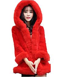 Cappotto di pelliccia Da donna Casual Romantico Autunno Inverno,Tinta unita Con cappuccio Pelliccia di volpe Lungo Manica lunga
