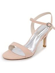 baratos -Mulheres Sapatos Flocagem Primavera / Verão Rasteirinhas Sandálias Salto Agulha Dedo Aberto Verde / Azul / Amêndoa / Festas & Noite