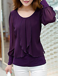 Women's Casual/Daily Plus Size Simple Fall Blouse,Solid Round Neck Long Sleeves Acrylic Medium