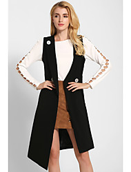 Lztlylzt Women's Going out Casual/Daily Work Simple Street chic Fall Winter VestSolid Shirt Collar Sleeveless Long Cotton Polyester