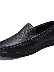 Men's Loafers & Slip-Ons Comfort Summer Fall Cowhide Walking Shoes Casual Braided Strap Split Joint Flat Heel Black Dark Brown Flat