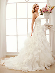 cheap -A-Line Princess Sweetheart Court Train Organza Wedding Dress with Cascading Ruffle Criss-Cross by LAN TING BRIDE®