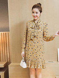 Women's Daily Loose Dress,Print Stand Knee-length Long Sleeves Others Spring High Rise Inelastic Thin
