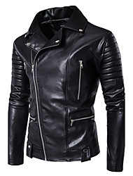 Men's Casual/Daily Simple Winter Fall Leather Jacket,Solid Round Neck Long Sleeve Regular PU