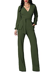 cheap -Women's Daily Club Holiday Casual Sexy Street chic Solid Deep V Jumpsuits
