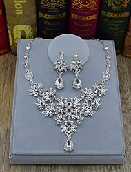 abordables -Mujer Cristal Gota / Flor Conjunto de joyas - Moda Plata Pendientes colgantes / Collar Para Boda / Fiesta / Ceremonia