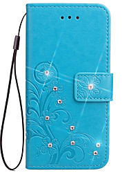 cheap -Case For Samsung Galaxy S5 Mini S4 Mini Case Card Holder Wallet Rhinestone with Stand Flip Embossed Full Body Case Flower Hard PU Leather for S3 Mini