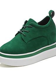 Women's Sneakers Light Soles PU Summer Casual Lace-up Flat Heel Green Black Flat