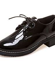 Women's Oxfords Comfort PU Summer Casual Lace-up Low Heel Screen Color Black 1in-1 3/4in