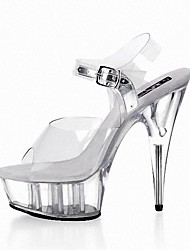 cheap -Women's Sandals Formal Shoes Summer PVC Dress Party & Evening Crystal Buckle Stiletto Heel Silver Clear 5in & over