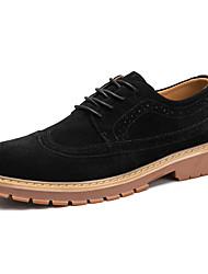 baratos -Homens sapatos Courino Inverno Outono Conforto Oxfords Caminhada Cadarço para Casamento Casual Festas & Noite Preto Cinzento Khaki