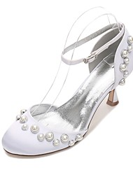 Women's Wedding Shoes Comfort D'Orsay & Two-Piece Spring Summer Satin Wedding Dress Party & Evening Pearl Imitation Pearl Hollow-out Low