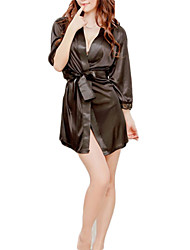 Black White Satin Robe Women's Night Sleepwear