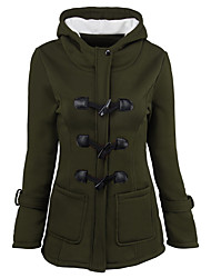 cheap -Women's Plus Size Going out Street chic Long Padded - Solid Colored, Pure Color Hooded