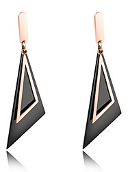 cheap -European and American long style black oblique triangular geometric pattern earrings earrings in the ear of a woman's everyday skin accessories
