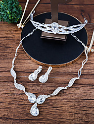 cheap -Women's Jewelry Set - Crown Fashion Include Necklace / Front Back Earrings White For Wedding