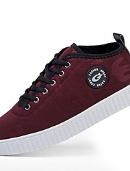cheap -Men's Sneakers Driving Shoes Comfort Light Soles PU Canvas Fall Winter Casual Lace-up Flat Heel Burgundy Gray Black Flat