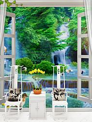 abordables -arbres/Feuilles 3D Classique Décoration d'intérieur Oriental Moderne/Contemporain Revêtement, Toile Matériel adhésif requis Mural, Couvre