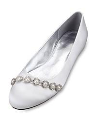 baratos -Feminino Sapatos De Casamento Conforto Bailarina Cetim Primavera Verão Casamento Social Festas & NoitePedrarias Pérolas Sintéticas Gliter