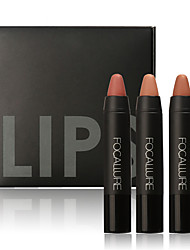 cheap -3Pcs Professional Makeup Lips Crayon Pencils Long Lasting Pigment Dark Color Nude Lot Matte Lipstick Set Makeup