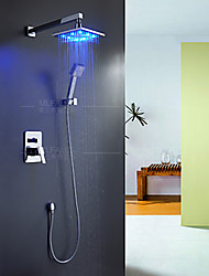 Modern Style LED Wall Mounted Rain Shower Handshower Included with  Ceramic Valve  Chrome Finish Bathroom Shower Faucet Set