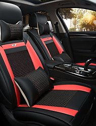 The New Car Seat Cushion Leather Seat Cover Four Seasons General Ice All Around Five Seats To 2 Seat Headrest Backrest Black Red