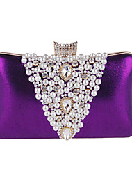 cheap -Women's Bags Polyester Evening Bag Rhinestone / Pearls Black / Silver / Purple