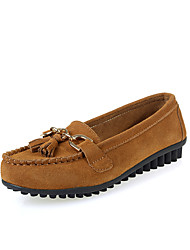 cheap -Women's Shoes Cowhide Spring / Summer / Fall Comfort Loafers & Slip-Ons Walking Shoes Flat Heel Round Toe Split Joint for Red / Blue /