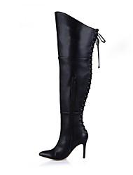 Da donna Stivaletti Stivali Inverno PU (Poliuretano) Formale Nero Rosso 10 - 12 cm
