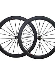baratos -700CC Conjuntos de Rodas Ciclismo 20.5 mm Bicicleta de Estrada Carbono / Liga de alumínio / Aço Com Tubo F:20 R:24 Raios 60 mm