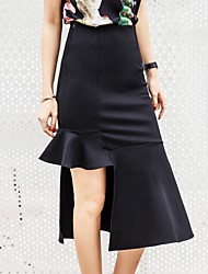 Women's Bodycon Work Going out Asymmetrical Skirts Sexy Street chic Bodycon Trumpet/Mermaid Knitting Solid Fall