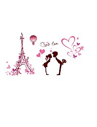 Paris Love Quote Boy & Girl Wall Stickers Eiffel Tower Love Heart Wall Decals Home Decor For Couples Room Living Room