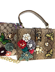 cheap -Women's Bags leatherette Bag Set 2 Pieces Purse Set Rhinestone Beading Sequin Petal Appliques Embroidery Pearl Detailing Printing Floral