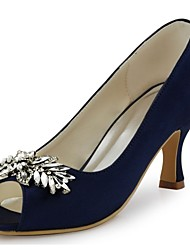 preiswerte -Damen Schuhe Stretch - Satin Frühling Sommer Pumps Hochzeit Schuhe Stöckelabsatz Peep Toe Kristall für Hochzeit Party & Festivität Weiß