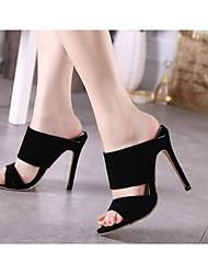 preiswerte -Damen Schuhe Leder PU Sommer Komfort Pumps Sandalen für Normal Schwarz