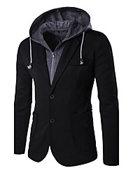 cheap -Men's Blazer-Solid Colored Hooded / Please choose one size larger according to your normal size. / Long Sleeve