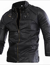 Men's Casual/Daily Vintage Spring Fall Leather Jacket,Solid Striped Print Stand Long Sleeve Regular Linen Acrylic Calfskin