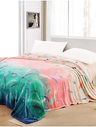 Недорогие -Супер мягкий Растения Полиэфир одеяла