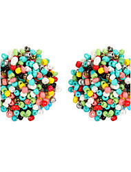New Arrival Multicolor Beads Round Acrylic Stud Earrings For Women Geometric Earrings Brincos Piercing Bijoux Maxi Boho Jewelry Fashion