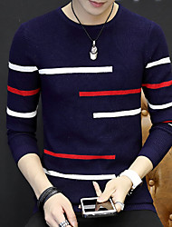 cheap -Men's Daily Weekend Solid Round Neck Pullover, Long Sleeves Winter Fall Cotton Polyester