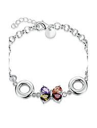 cheap -Women's Girls' Crystal Silver Plated Bowknot Chain Bracelet - Friendship Fashion Rock Punk Bowknot Silver Bracelet For Christmas Gifts