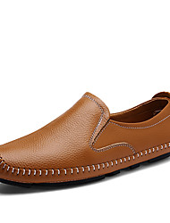 Men's Loafers & Slip-Ons Comfort Spring Fall Nappa Leather Casual Office & Career Party & Evening Flat Heel Blue Brown Black Flat