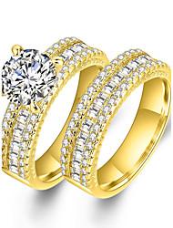 Недорогие -Для пары Роскошь Цирконий / Синтетический алмаз Циркон / Позолота Кольца для пар - Круглый / Геометрической формы Роскошь / Классика /