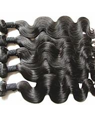 cheap -Brazilian Hair Natural Color Hair Weaves 5 Bundles Human Hair Weaves Natural Black Human Hair Extensions Women's