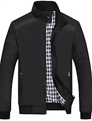 Men's Plus Size Casual/Daily Simple Fall Winter Jacket,Solid Stand Long Sleeve Short Polyester