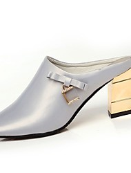 Women's Slippers & Flip-Flops Light Soles Spring PU Casual Crystal Block Heel Ruby Silver Black 2in-2 3/4in